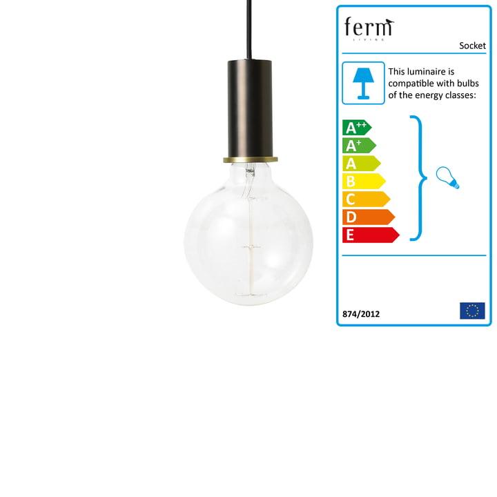 Socket pendant lamp Low, black brass from ferm Living