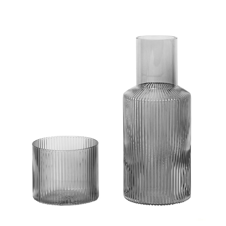 Ripple carafe set, small / smoked gray by ferm Living