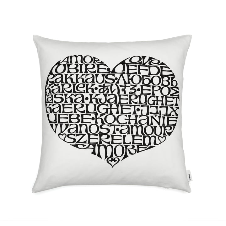 Graphic Print Pillow 40 x 40 cm International Love Heart by Vitra in black / white