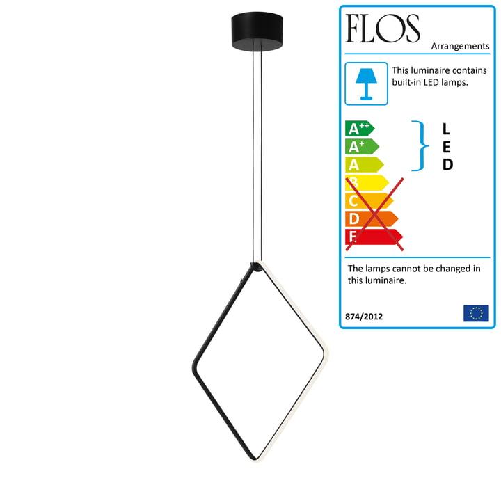 Arrangements LED Pendant lamp, square / large, matt black (incl. canopy) from Flos