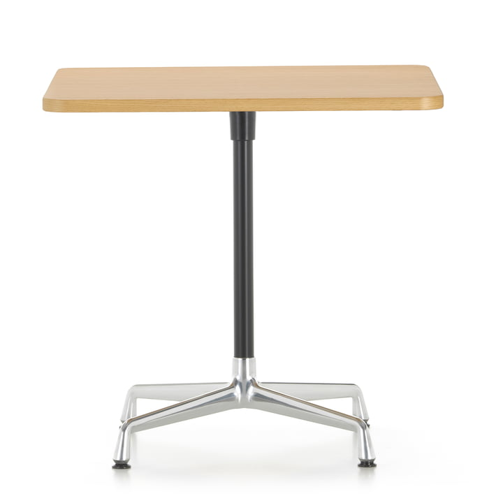 Contract Table 75 x 75 cm of Vitra in aluminum polished / basic dark / oak light