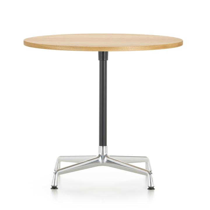 Contract Table Ø 80 cm from Vitra in aluminium polished / basic dark / oak light