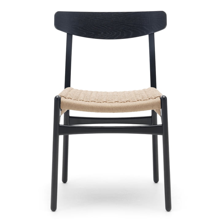 CH23 Chair from Carl Hansen in black stained oak / natural wickerwork