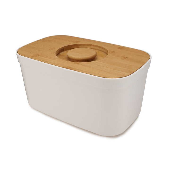 Bread Bin Bread basket with cutting board lid from Joseph Joseph in bamboo / white