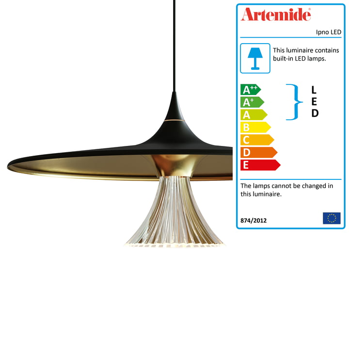 Ipno LED Pendant Light from Artemide in black / gold
