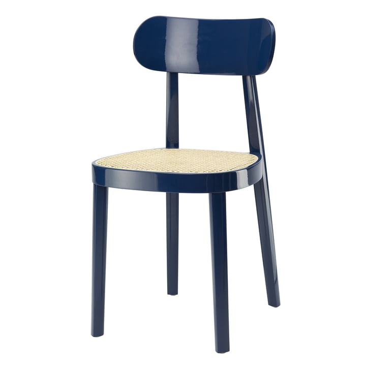 118 Chair by Thonet , tubular wicker with plastic support fabric / beech sapphire blue lacquered (RAL 5003) (special edition)