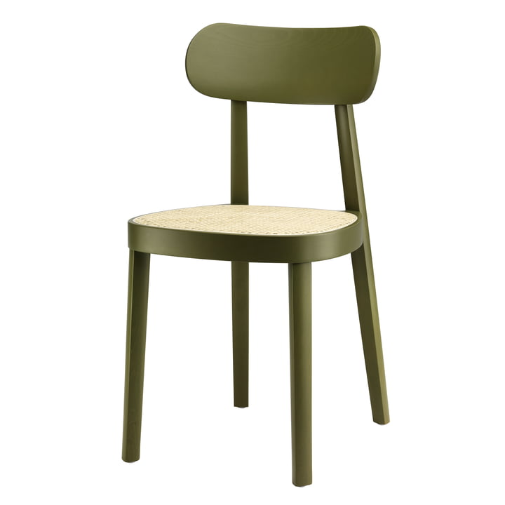 118 Chair by Thonet , tubular wickerwork with plastic support fabric / beech stained olive green (RAL 6003)