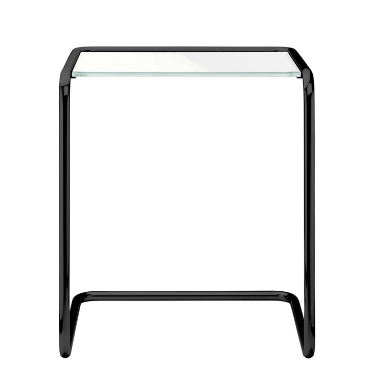 B 97 a Side table, 34,5 x 41,5 cm, frame deep black RAL 9005 / Glass (All Seasons) by Thonet