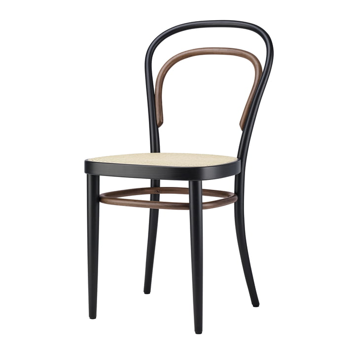 214 Bentwood chair, cane weave with plastic support fabric / Beech Two-Tone Black by Thonet