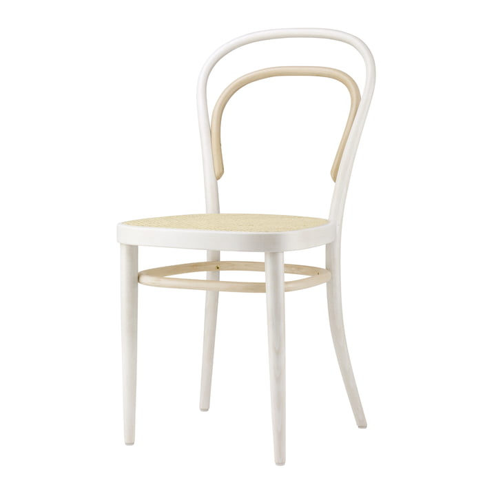 214 Bug wood chair, cane weave with plastic support fabric / beech Two-Tone White by Thonet