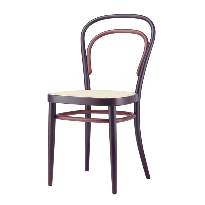 214 Bug wood chair, cane weave with plastic support fabric / beech Two-Tone velvet red by Thonet