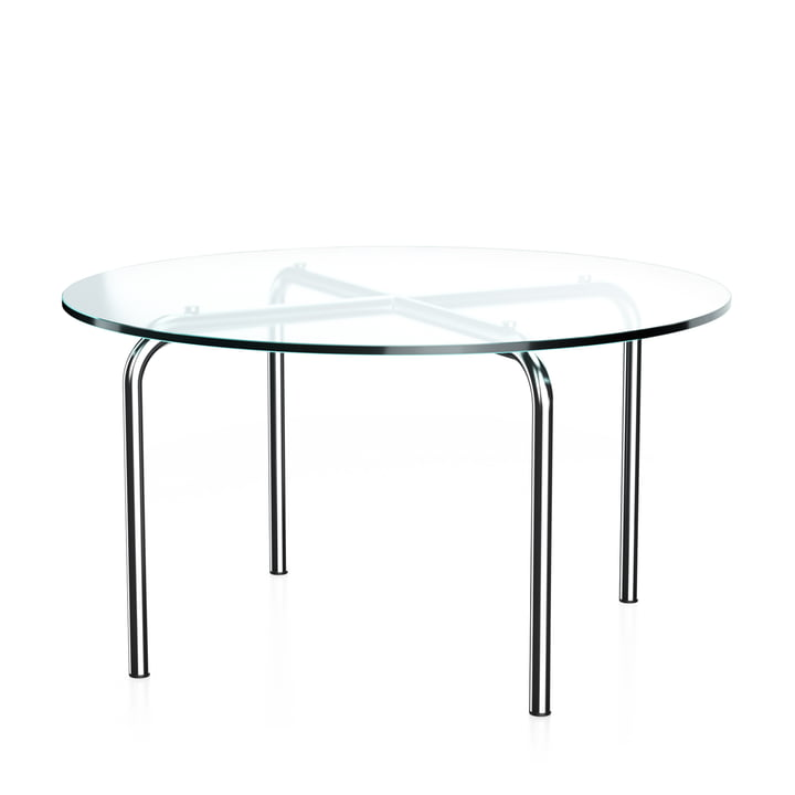 MR 516 Side table by Thonet, Ø 70 x H 38 cm, chrome-plated tubular steel and clear glass