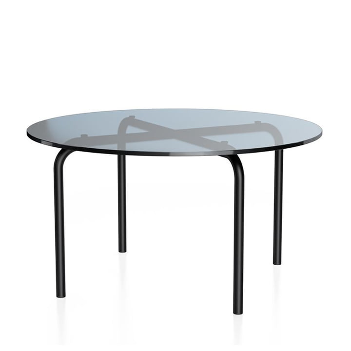 MR 516 Side table by Thonet, Ø 70 x H 38 cm, steel tube deep black (RAL 9005) and clear glass grey tinted