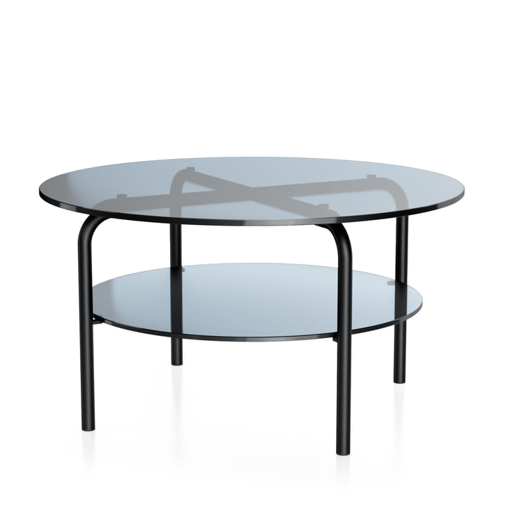 MR 516/1 Side table by Thonet, Ø 70 x H 38 cm, steel tube deep black (RAL 9005) and clear glass grey tinted