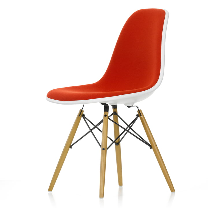 Eames Plastic Side Chair DSW (H 43 cm) by Vitra in maple yellowish / white, full upholstery Hopsak red/cognac (96), felt glider white