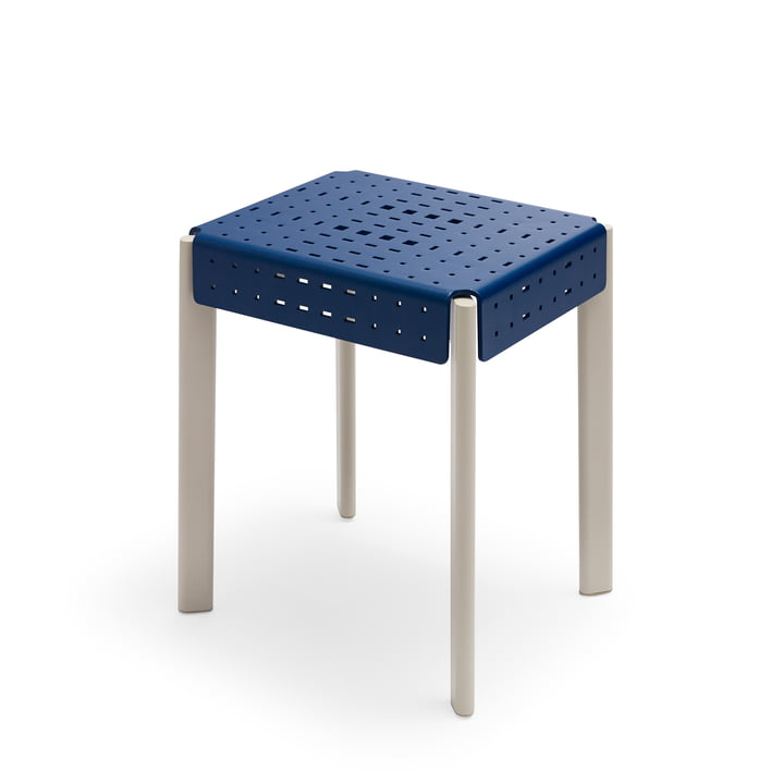 Gerda stool H 45 cm from Skagerak in royal blue / pebble grey