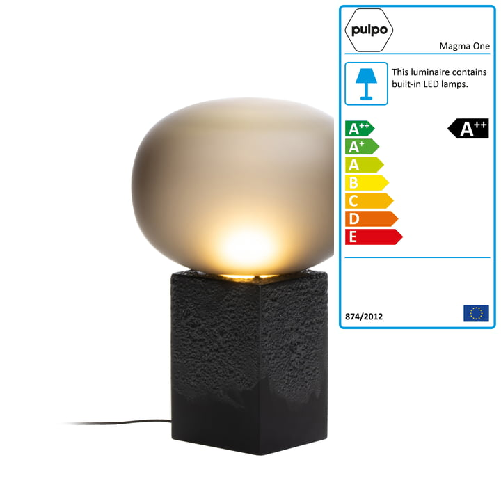 Magma One High table lamp from Pulpo in smoke grey / black