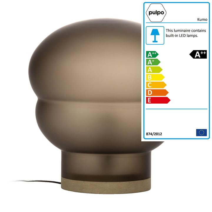 Kumo floor lamp medium from Pulpo in smoke grey / taupe