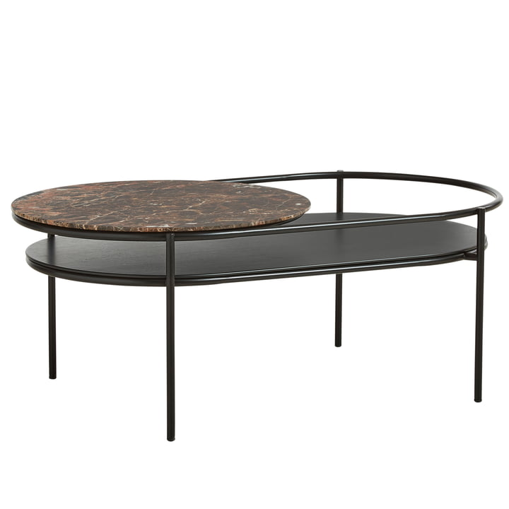 Verde coffee table by Woud in marble brown