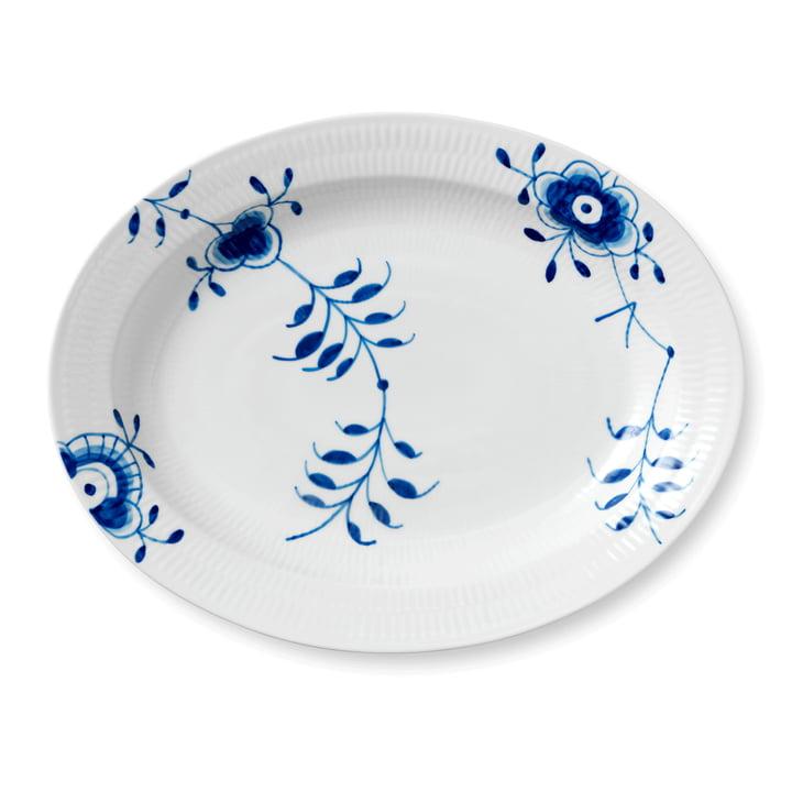 Mega Blue Ribbed Serving Plate oval 36,5 cm from Royal Copenhagen