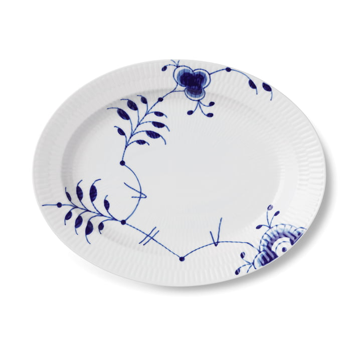 Mega Blue Ribbed Serving Plate oval 30,5 cm from Royal Copenhagen