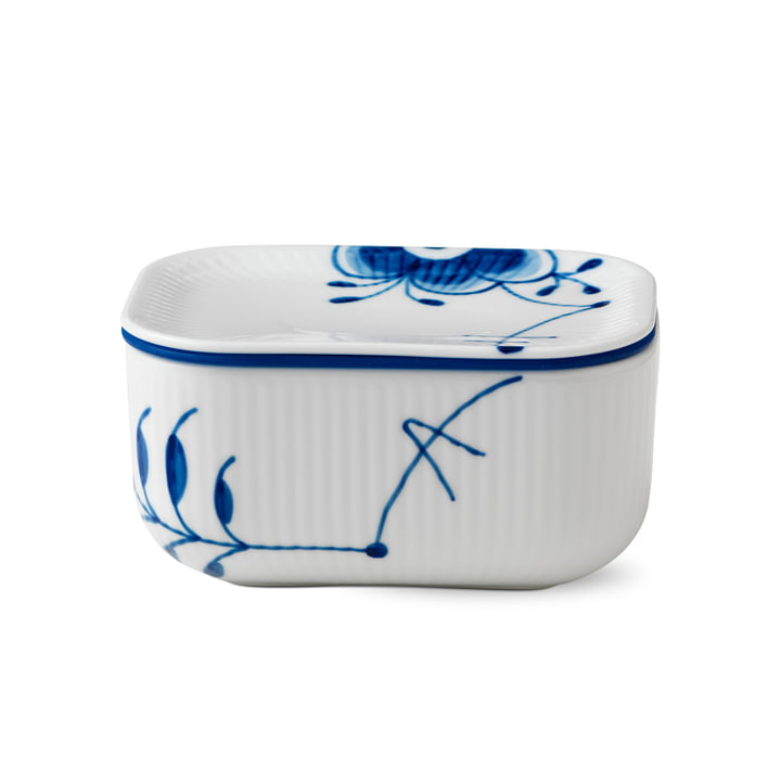 Mega Blue Ribbed Butter Dish with Lid by Royal Copenhagen