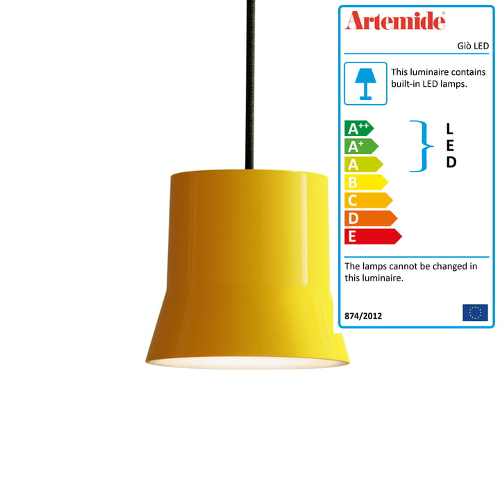 Giò LED pendant luminaire from Artemide in yellow