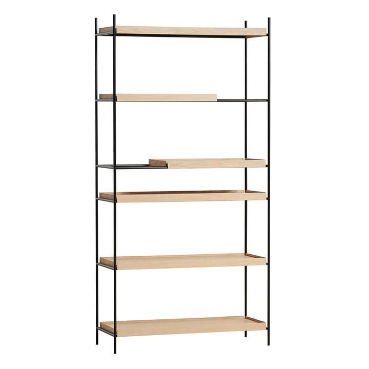 Tray Shelf high from Woud in oak nature / black