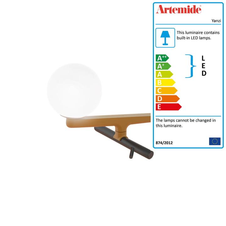 Yanzi LED table lamp from Artemide in brushed brass / black