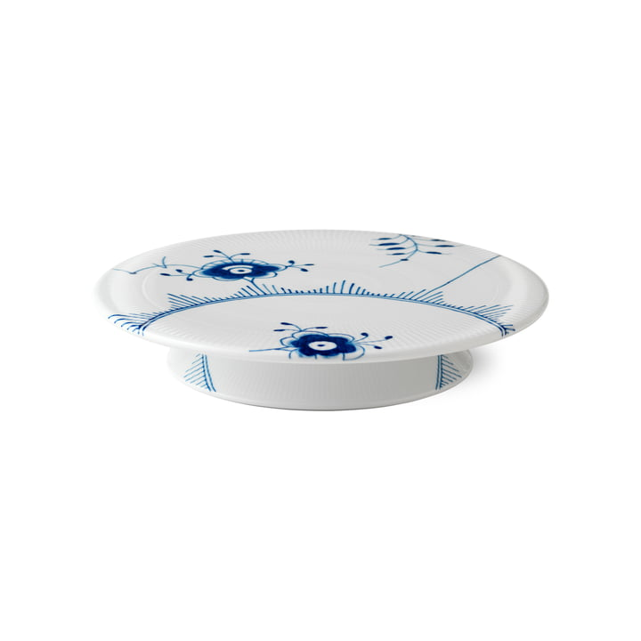 Mega Blue Ribbed Cake Plate with Foot from Royal Copenhagen