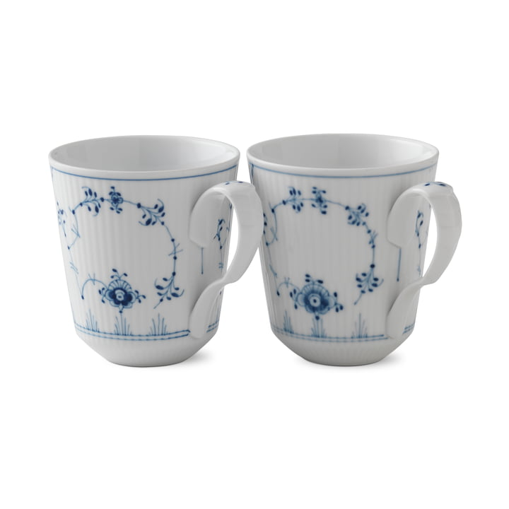 Musselmalet Ribbed Cup 37 cl in white / blue (set of 2) by Royal Copenhagen