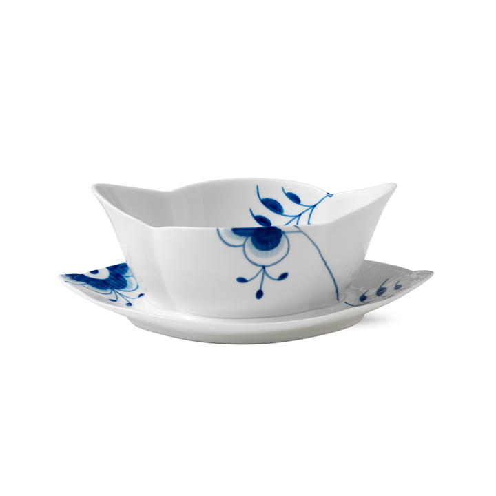 Mega Blue Ribbed Sauce boat with saucer 55 cl from Royal Copenhagen