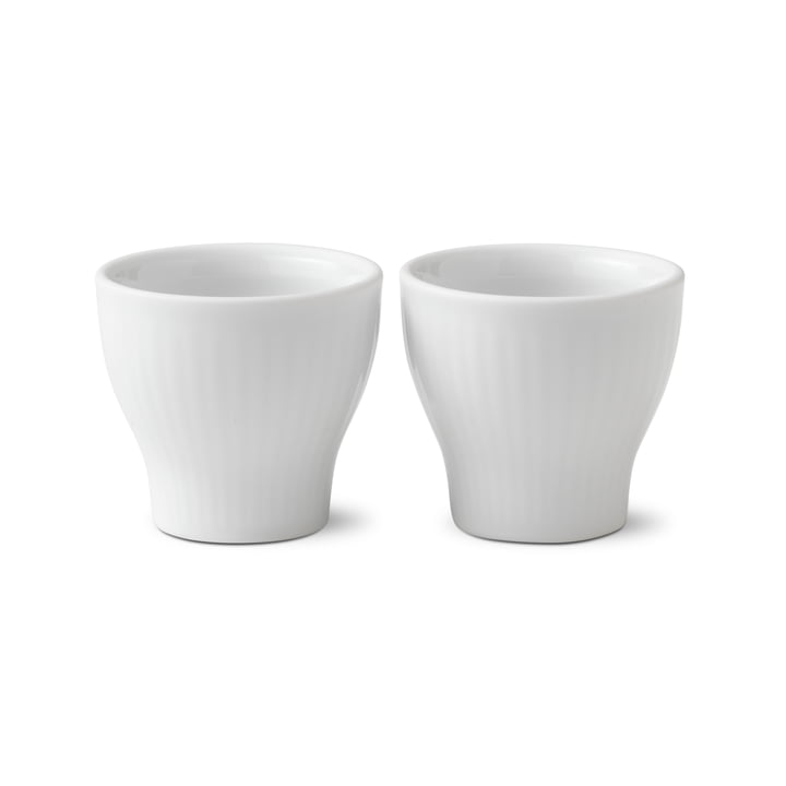 White Ribbed Egg Cups (Set of 2) from Royal Copenhagen