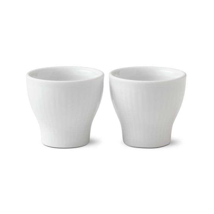 White Ribbed Egg Cups (Set of 2) from Royal Copenhagen