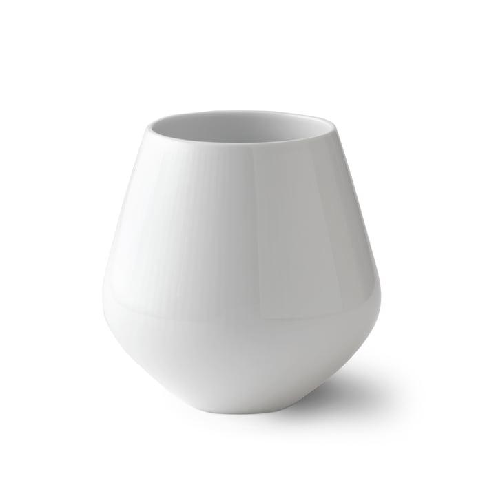 White Ribbed Vase medium H 15 cm from Royal Copenhagen