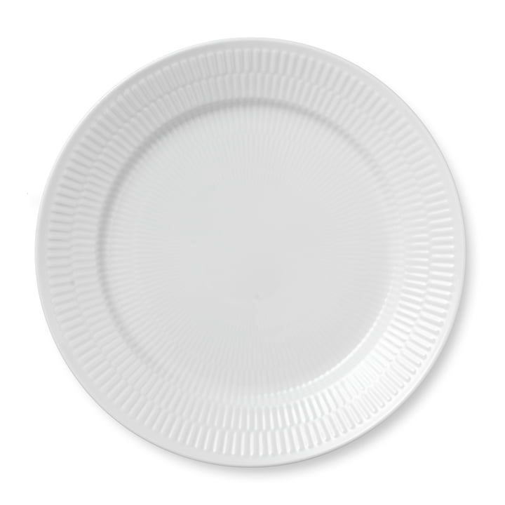White Ribbed plate flat, Ø 27 cm from Royal Copenhagen