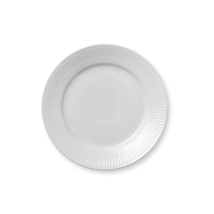White ribbed breakfast plate flat, Ø 19 cm from Royal Copenhagen