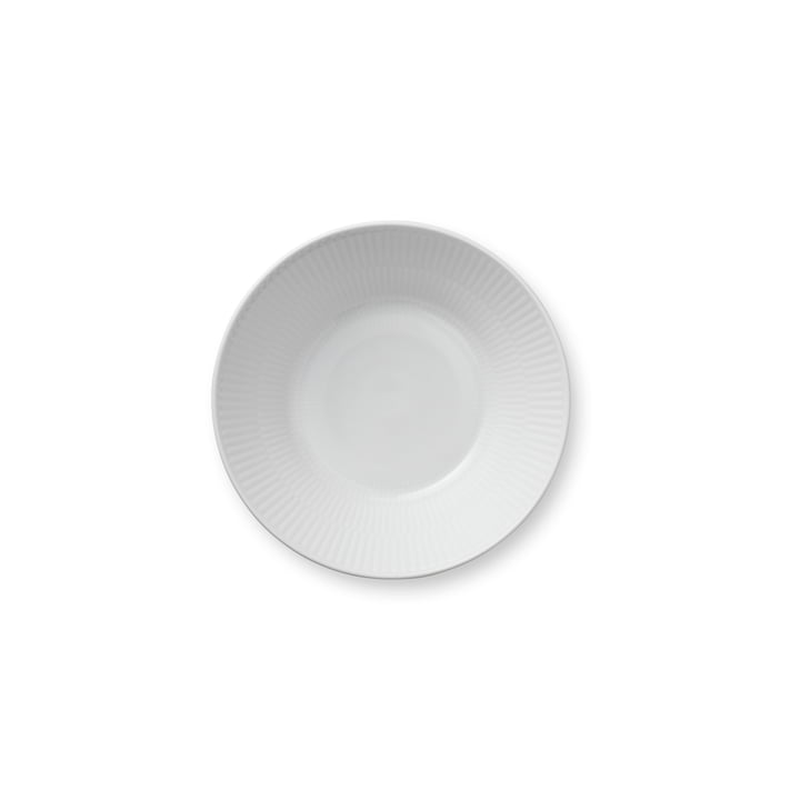White ribbed soup plate deep, Ø 17 cm from Royal Copenhagen