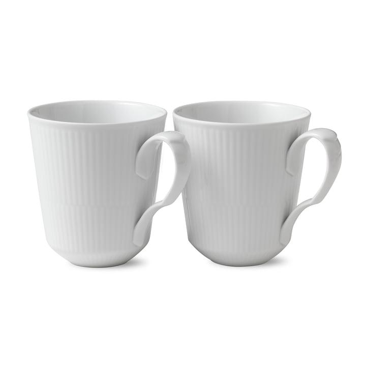 White ribbed mug 37 cl (set of 2) by Royal Copenhagen