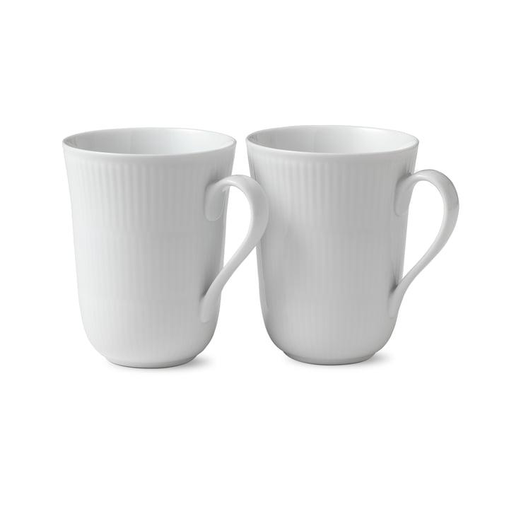 White ribbed mug 33 cl (set of 2) by Royal Copenhagen