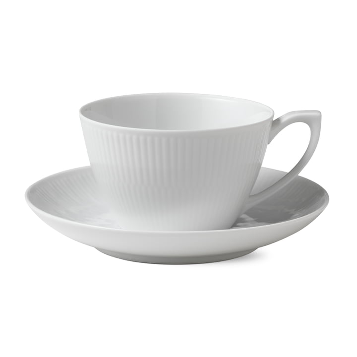 White Ribbed Cup and Saucer 28 cl by Royal Copenhagen