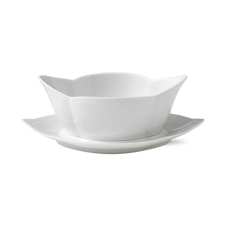 White Ribbed Sauceboat with saucer 55 cl of Royal Copenhagen