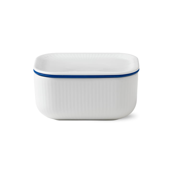 White ribbed butter dish with lid 6.8 cm from Royal Copenhagen