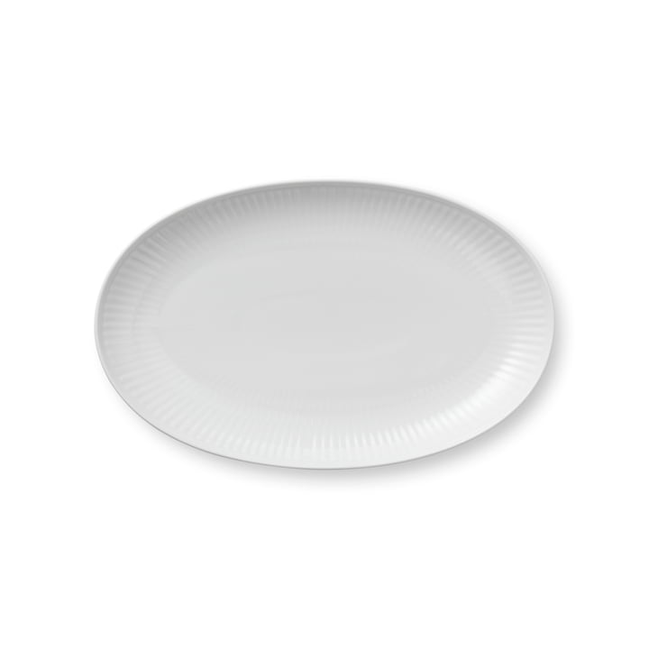 White Ribbed serving plate oval 23 cm from Royal Copenhagen