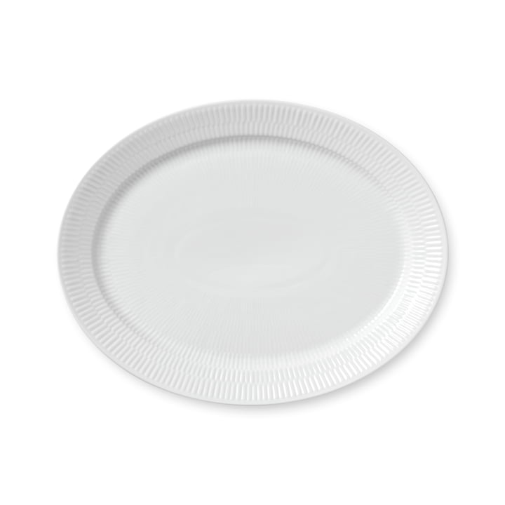 White Ribbed serving dish oval 33 cm from Royal Copenhagen