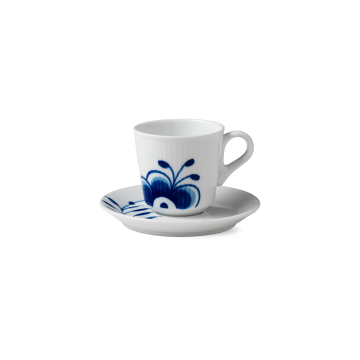 Mega Blue Ribbed Espresso Cup with Saucer 9 cl from Royal Copenhagen