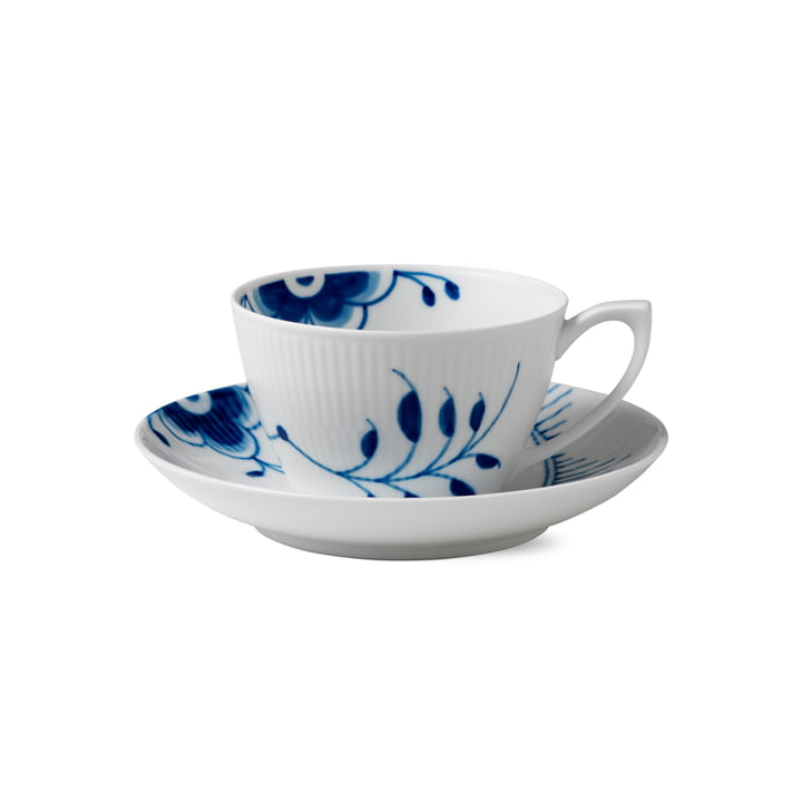 Mega Blue Ribbed Cup and Saucer 28 cl by Royal Copenhagen