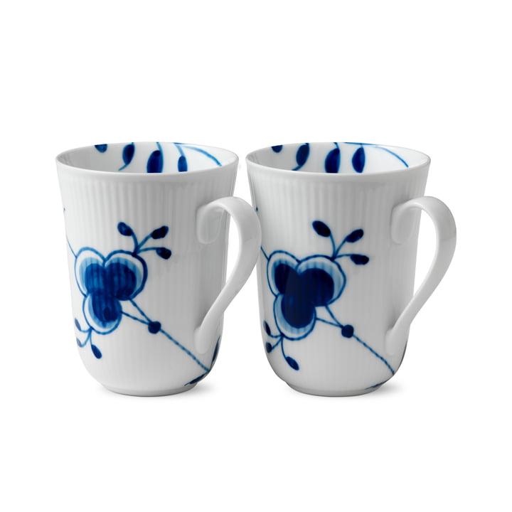 Mega Blue Ribbed Cup 33 cl (Set of 2) from Royal Copenhagen