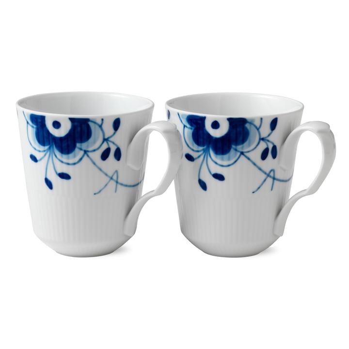 Mega Blue Ribbed Cup 37 cl (Set of 2) from Royal Copenhagen