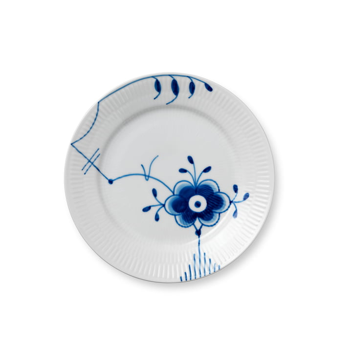 Mega Blue Ribbed Breakfast Plate flat Ø 19 cm from Royal Copenhagen with decor no. 6